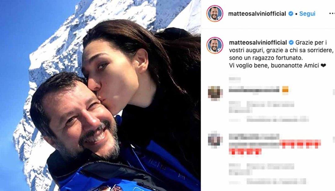 Matteo Salvini e Francesca Verdini baci e abbracci sulla neve