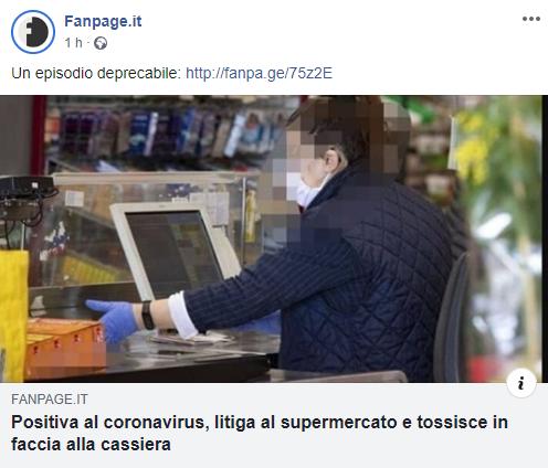 Positiva al Coronavirus, va al supermercato e inizia a tossire in faccia alla cassiera