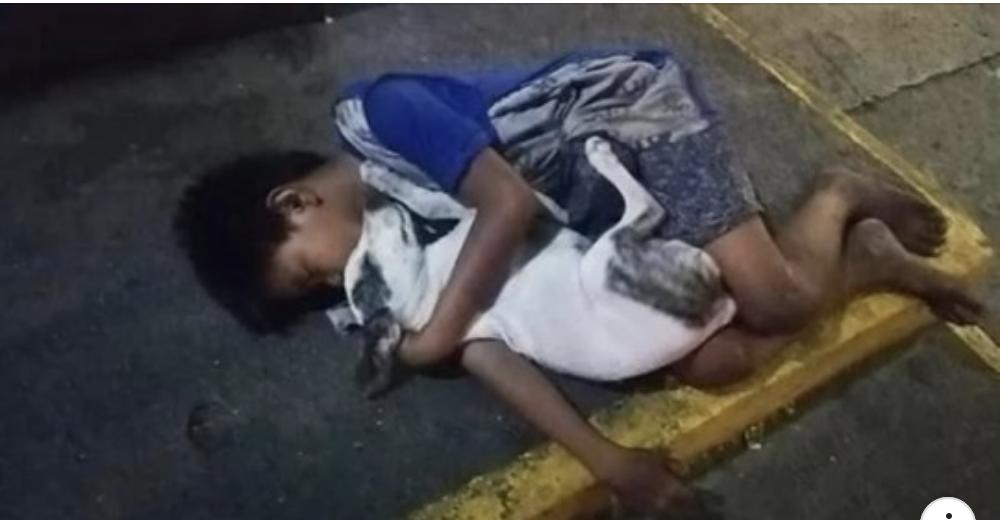 Bimbo senzatetto dorme sul marciapiede abbracciato al cane: