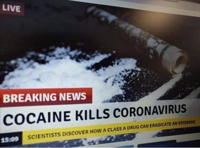 La Francia avverte i suoi cittadini: la cocaina non cura il coronavirus